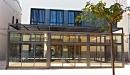 Cerramiento aluminio con techo policarbonato vista frontal